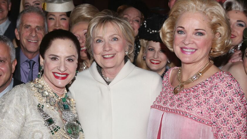 "Hillary Clinton, center, backstage with ""War Paint"" stars Patti LuPone, left, and Christine Ebersol"