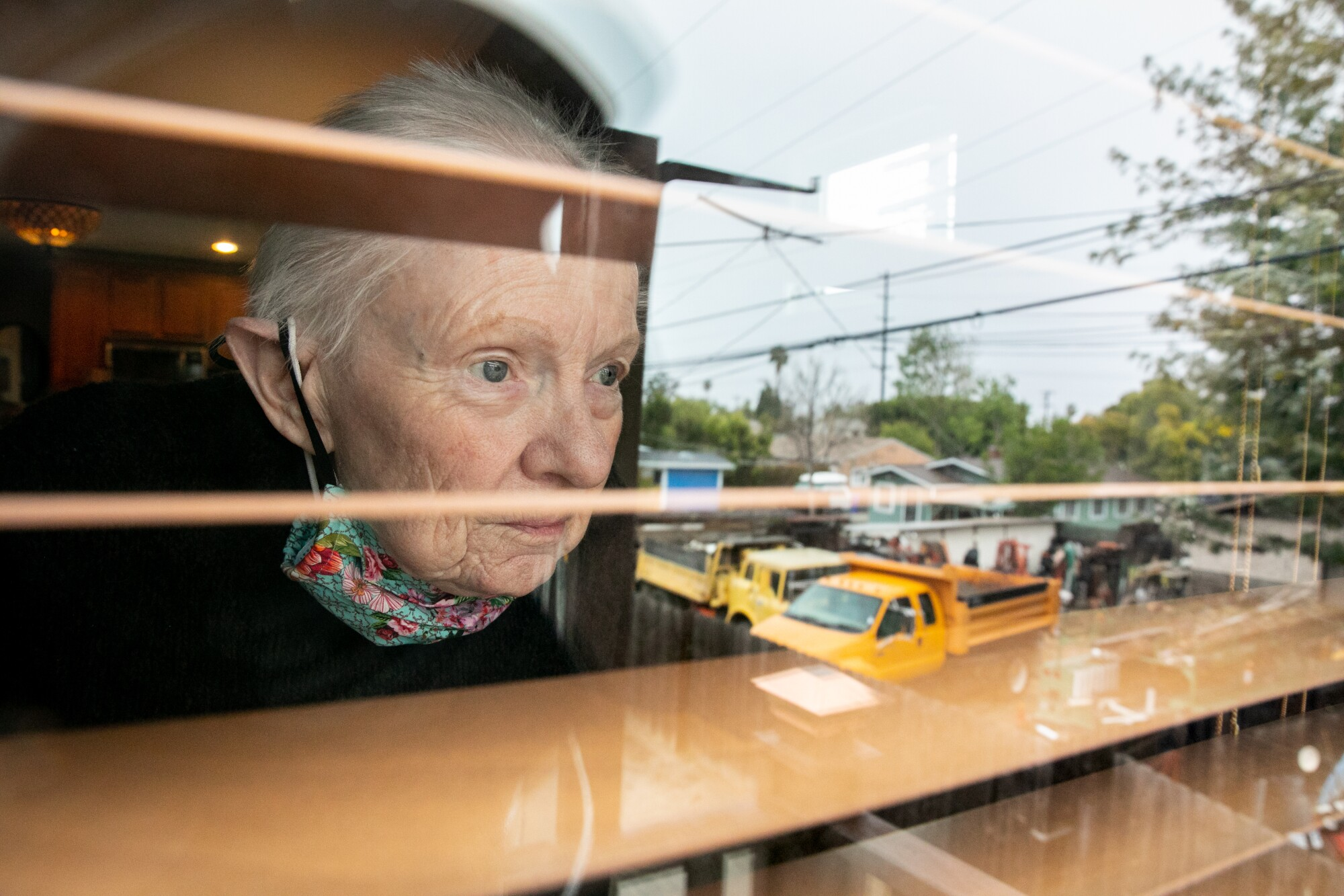 Joan Schomburg, 87, who's been living mostly in her home in isolation during the pandemic, poses at her home.