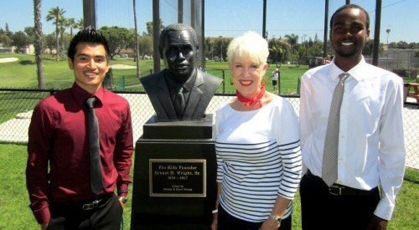 Eugene Yang, Sharon Considine, co-chair of the tournament, and Said Shaba at Las Colinas Golf Course, home of the Pro Kids organization.