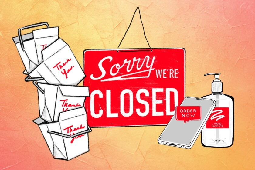 """illustration of a """"Sorry We're Closed"""" sign, takeout boxes, hand sanitizer and a phone"""