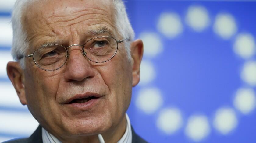 El comisionado de relaciones exteriores de la Unión Europea Josep Borrell en Bruselas, el 20 de noviembre del 2020. (Olivier Hoslet/Pool Photo via AP, File)