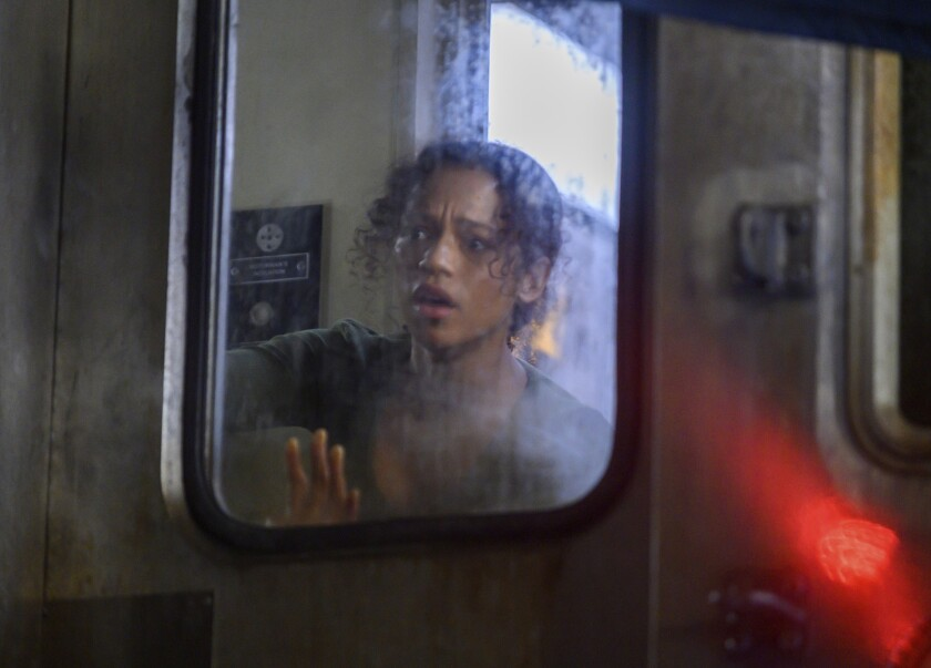 """This image released by Sony Pictures shows Taylor Russell in a scene from """"Escape Room: Tournament of Champions."""" (David Bloomer/Sony via AP)"""