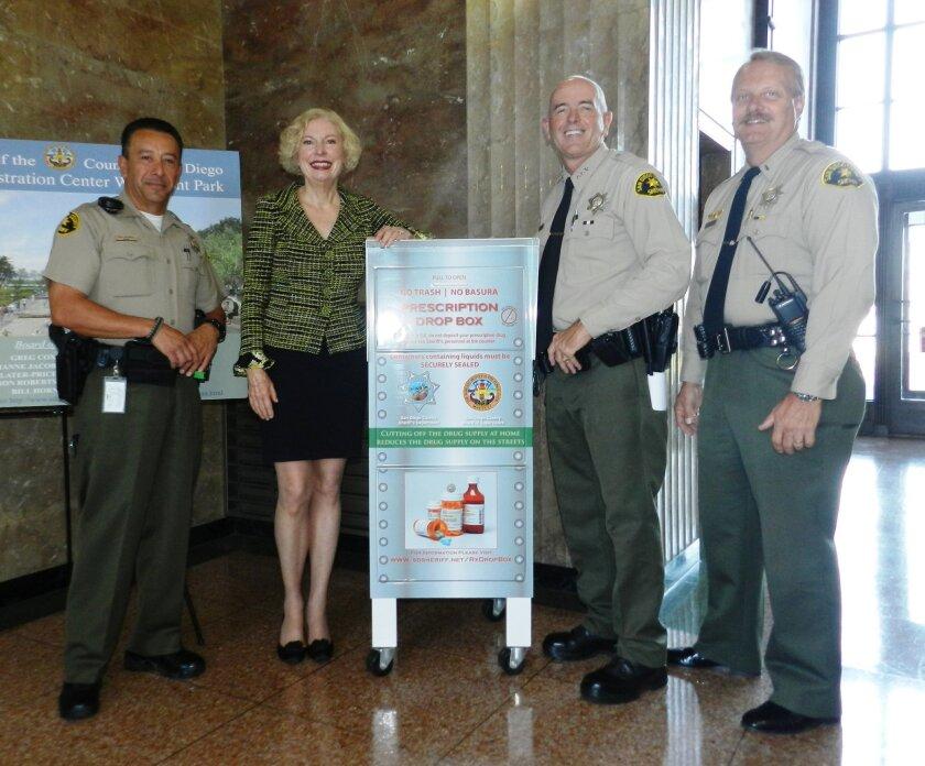 Deputy Tony Valdez, Supervisor Pam Slater-Price, Undersheriff Ed Prendergast and Lt. Todd Richardson. Courtesy
