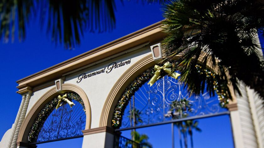Shown is the Melrose entrance to Paramount Pictures in Hollywood.