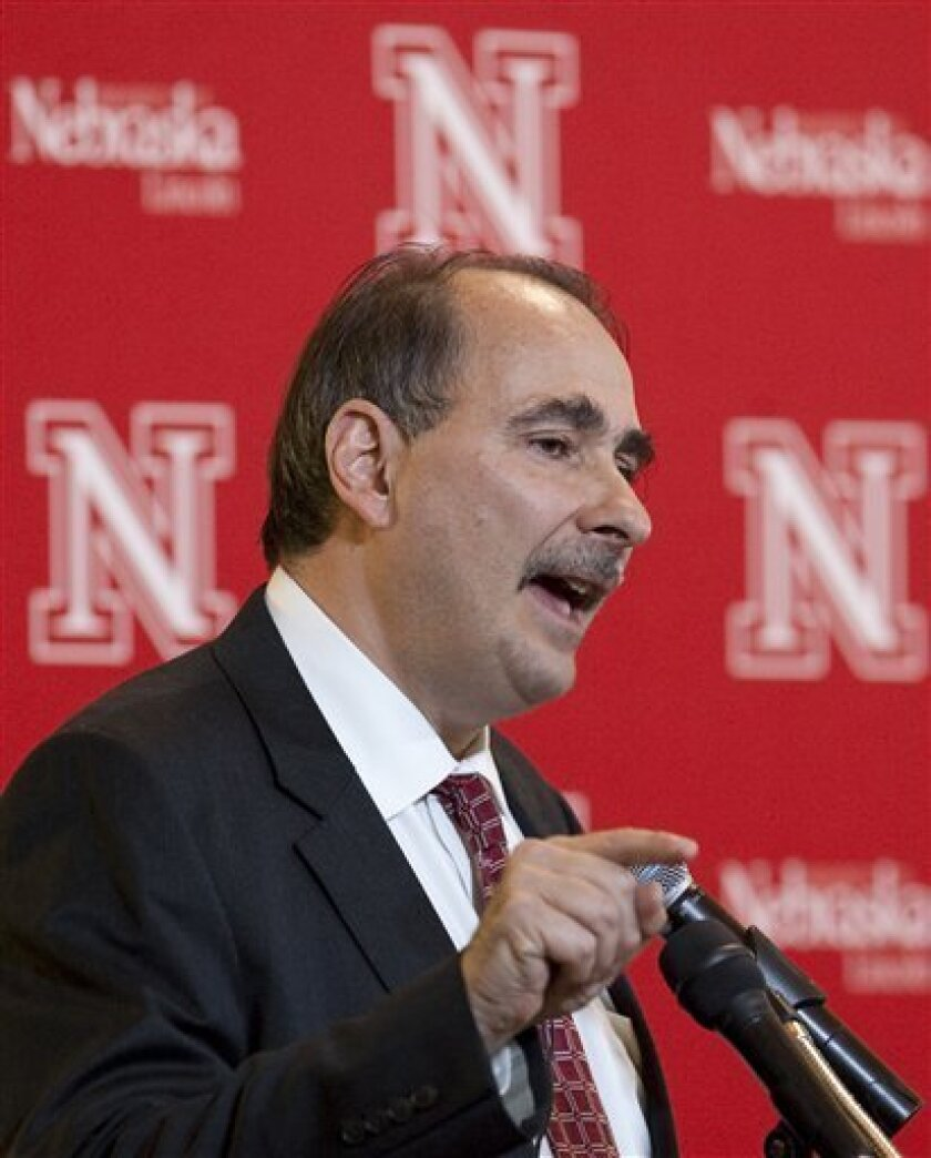 David Axelrod, senior adviser to President Barack Obama, speaks at the University of Nebraska-Lincoln, in Omaha, Neb., Friday, Oct. 9, 2009. (AP Photo/Nati Harnik)