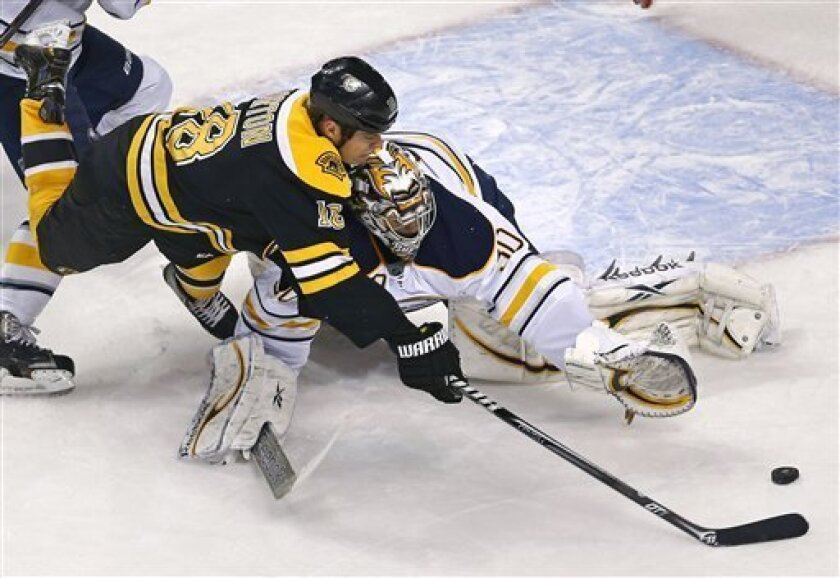 Boston Bruins right wing Nathan Horton (18) stretches to make the shot as Buffalo Sabres goalie Ryan Miller (30) makes a save during the first period of an NHL hockey game in Boston, Thursday, Jan. 31, 2013. (AP Photo/Charles Krupa)