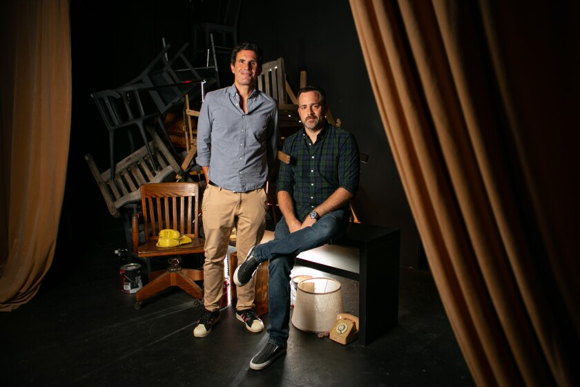 Johnny Clark, artistic director of VS. Theatre Company, and Tim Wright of Circle X Theatre Co.