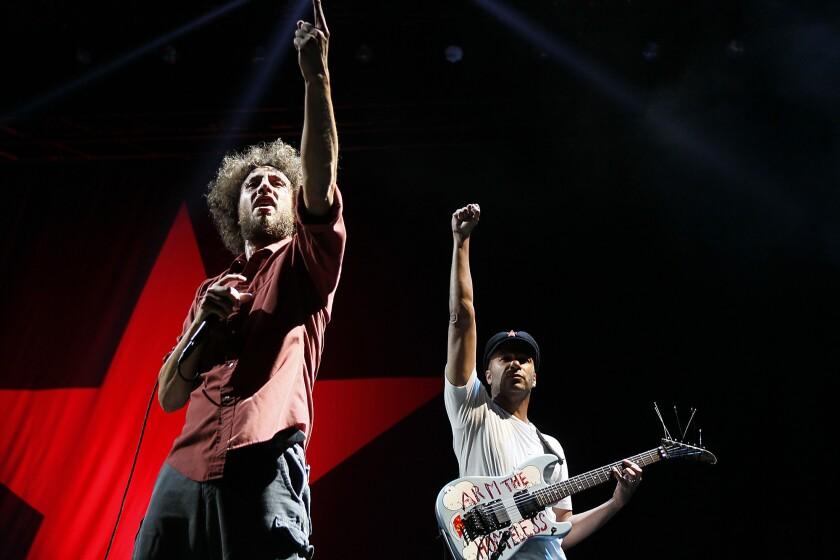 Zack de la Rocha, left, and Tom Morello of Rage Against the Machine back in 2011.