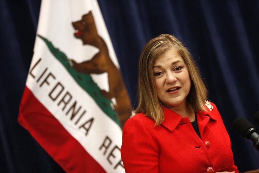 Rep. Loretta Sanchez (D-CA) speaking in May at the state Democratic convention in Anaheim.