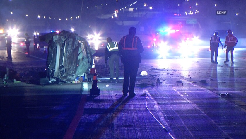 One person was killed and was injured in a crash on northbound Interstate 15 just south of Rancho Bernardo Road early Tuesday.