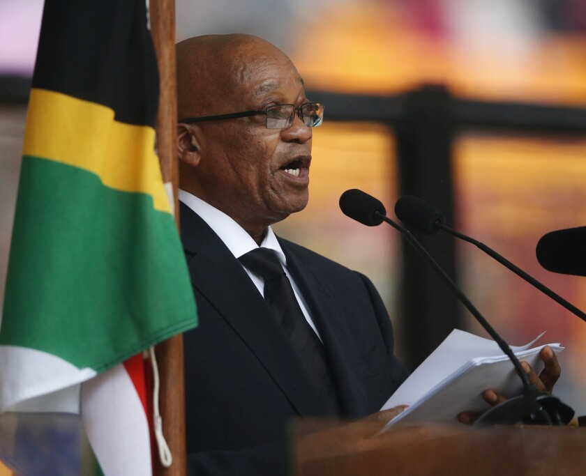 South African President Jacob Zuma speals at Nelson Mandela's memorial service in the Johannesburg township of Soweto.