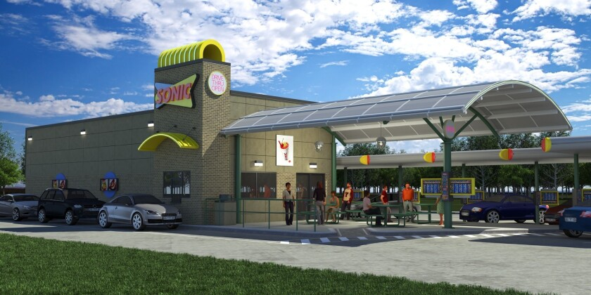 A rendering of a Sonic Drive-In. The company has announced plans to open 15 locations in the greater Los Angeles area and San Diego over the next six years.