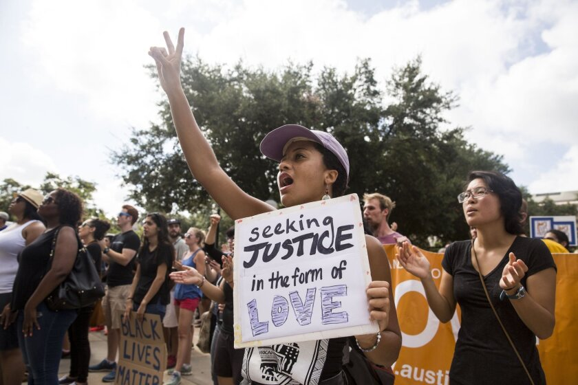 Ursula Walker participates in a rally hosted by Black Lives Matter Austin at the Texas State Capitol in September.
