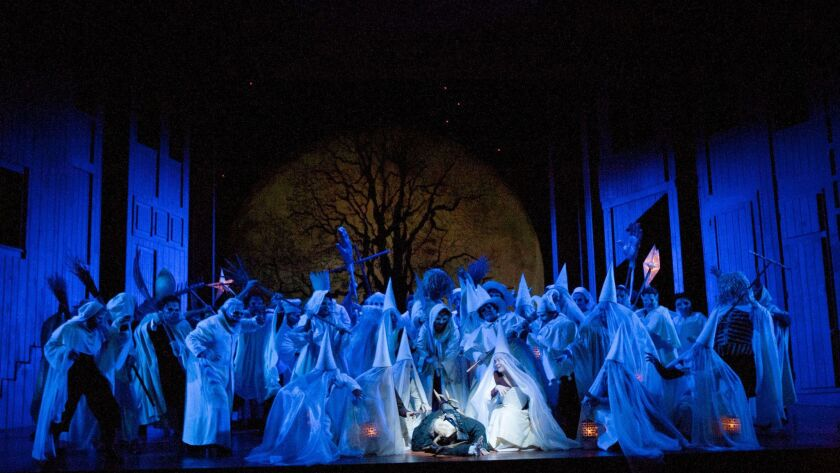 "The forest scene in San Diego Opera's ""Falstaff."""