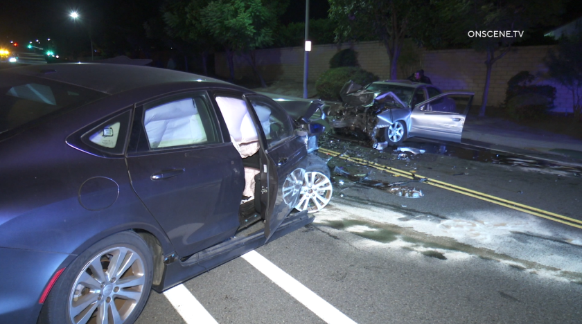 Two drivers were sent to the hospital Monday night after a head-on crash in Oceanside.