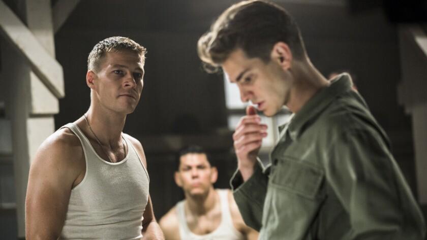 """Luke Bracey, left, and Andrew Garfield in """"Hacksaw Ridge."""""""