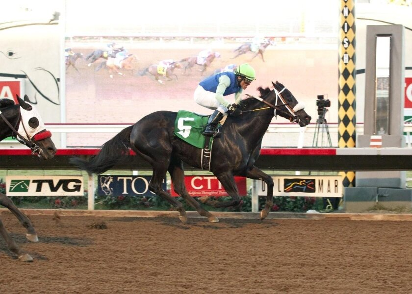 My Monet and jockey Santiago Gonzalez win the $100,000 Betty Grable Stakes horse race Sunday Del Mar Thoroughbred Club.