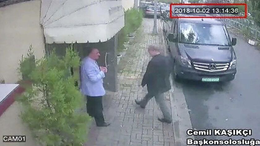 This image taken from CCTV video obtained by the Turkish newspaper Hurriyet and made available on Tu