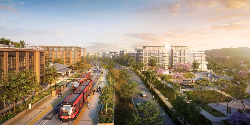 A rendering of the Riverwalk transit station along San Diego's Green Line.