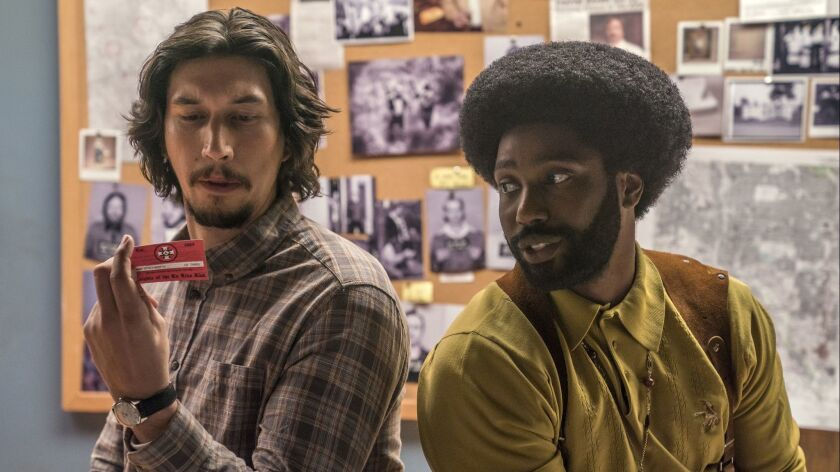"Adam Driver, left, and John David Washington in Spike Lee's ""BlacKkKLansman."""