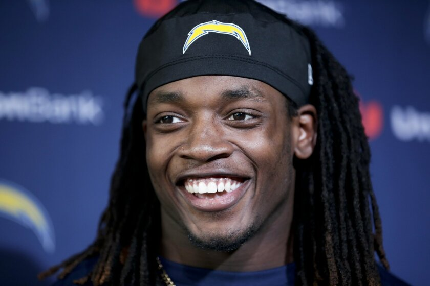San Diego Chargers rookie running back Melvin Gordon speaks to reporters during an NFL football rookie mini camp Friday, May 15, 2015, in San Diego. Gordon was drafted in the first round by the Chargers. (AP Photo/Gregory Bull)