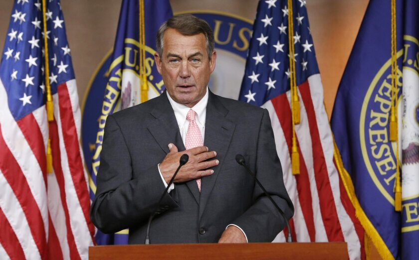 House Speaker John A. Boehner announces that he will resign from Congress at the end of October.