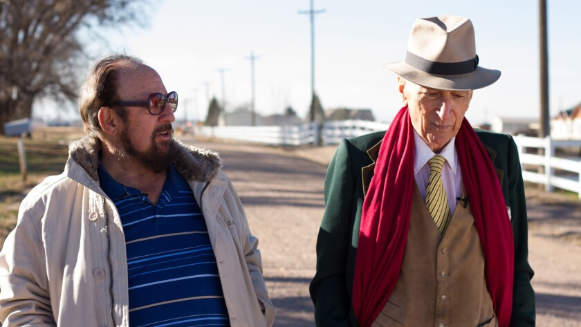 """(L-R) - Gerald Foos and Gay Talese on the set of the movie """"Voyeur."""" Credit: Cris Moris/Netflix"""