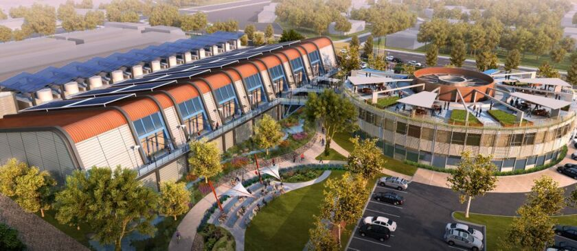 An artist's rendering, released by the Water Replenishment District of Southern California, of the planned $95-million water recycling plant in Pico Rivera.