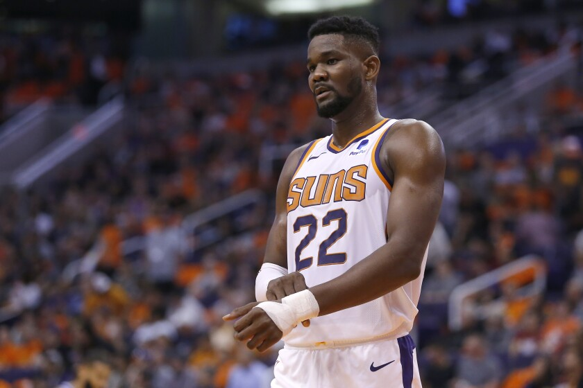 Phoenix Suns center Deandre Ayton in the first half during a game against the Sacramento Kings on Wednesday in Phoenix.