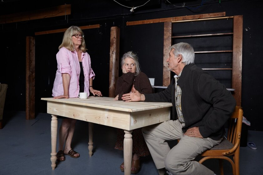 """Judith Ivey (left) directs Annabella Price and Mark Bramhall in rehearsals for North Coast Rep's """"Chapatti."""""""