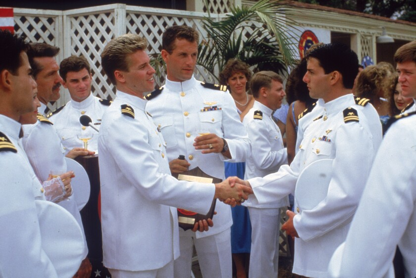 """A scene from """"Top Gun"""" with Val Kilmer, Rick Rossovich and Tom Cruise."""