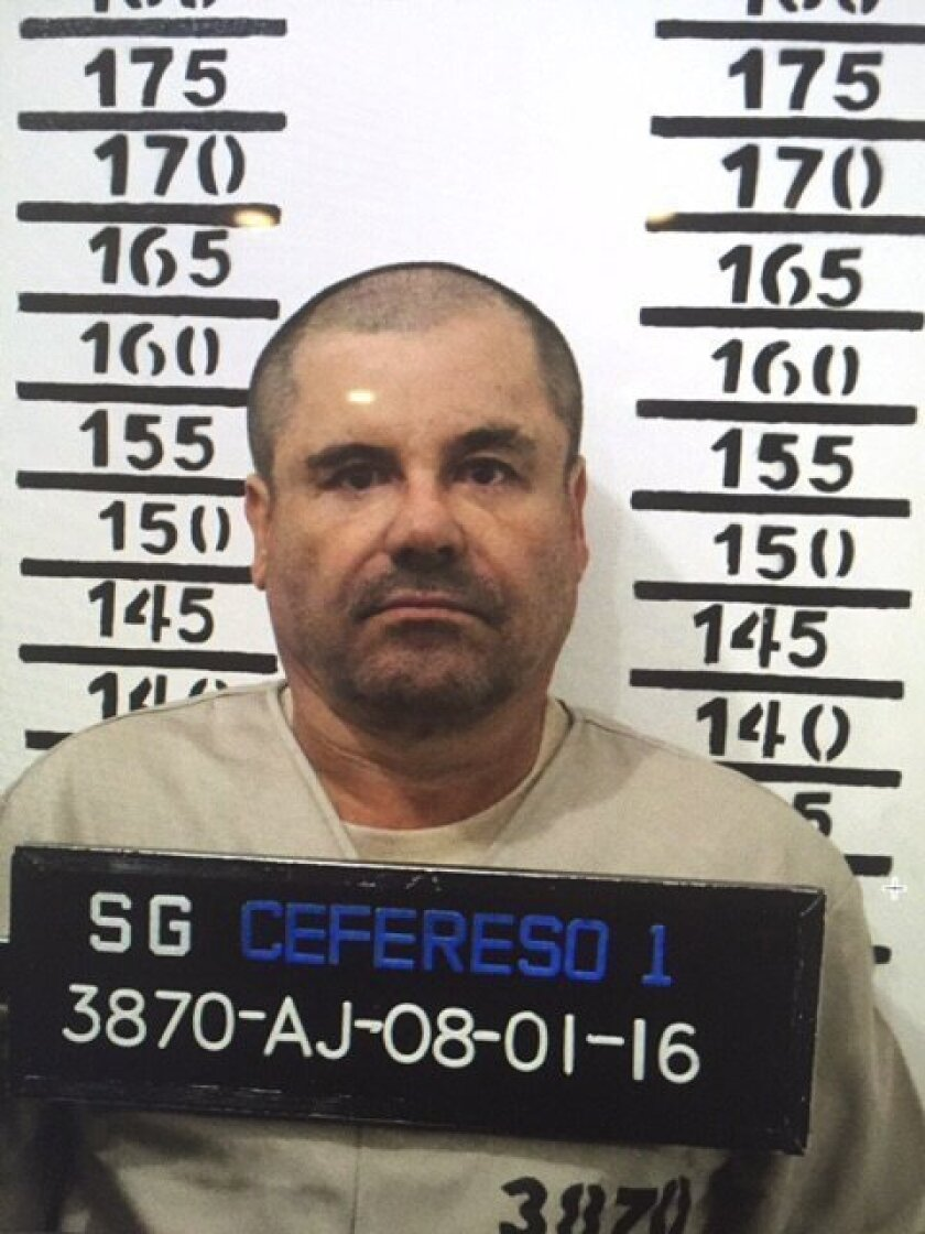 """FILE - In this Jan. 8, 2016, file image released by Mexico's federal government, Mexico's most wanted drug lord, Joaquin """"El Chapo"""" Guzman, stands for his prison mug shot with the inmate number 3870 at the Altiplano maximum security federal prison in Almoloya, Mexico. Emma Coronel, the common-law wife of Guzman said Monday, Feb. 29. 2016, that his health problems have gotten """"a lot worse"""" because guards at a maximum security prison rouse him for head counts, interfering with his sleep. (Mexico's federal government via AP)"""