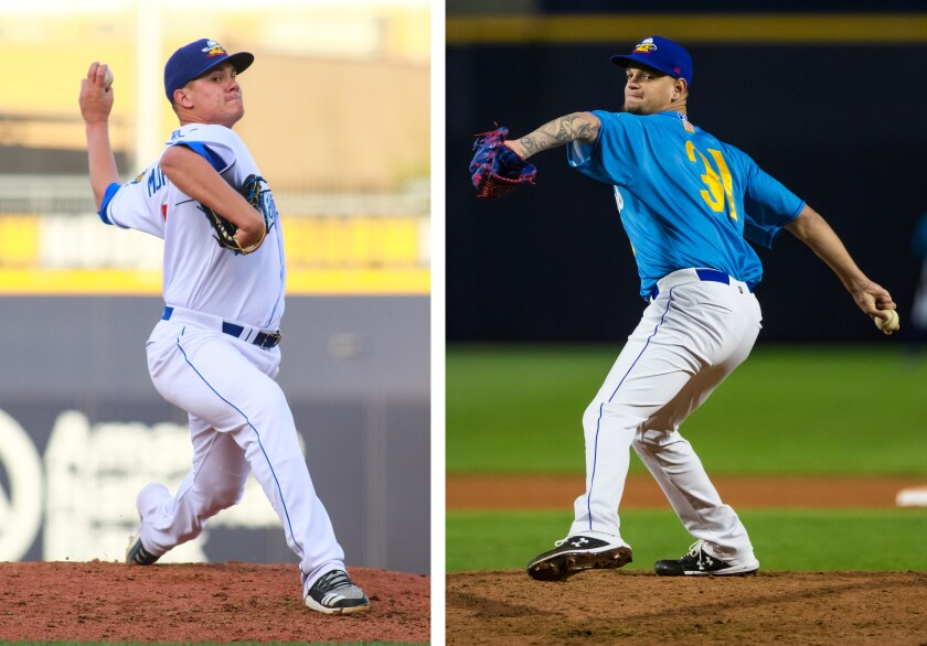 Amarillo Sod Poodles pitchers Adrian Morejon (left) and Michel Baez are ranked among the Padres' top prospects.