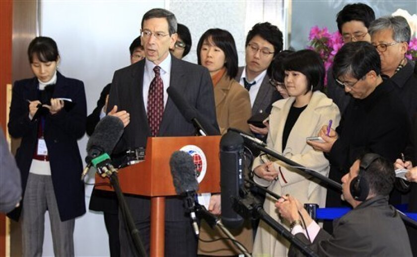 Robert Einhorn, the U.S. State Department's special adviser for nonproliferation, answers reporters' questions after he met South Korean officers at the Foreign Ministry in Seoul, South Korea, Wednesday, March 2, 2011. (AP Photo/ Lee Jin-man)