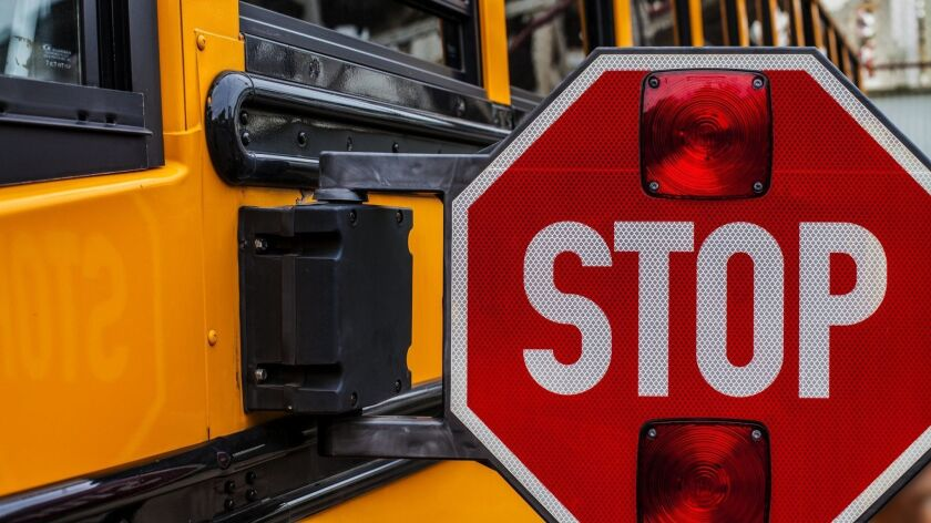 Stop sign of a school bus