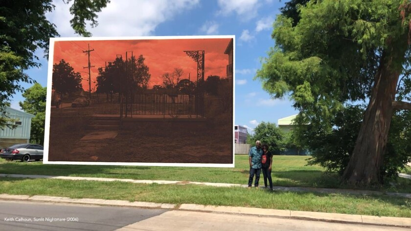 "Keith Calhoun's ""Sunlit Nightmare,"" an AR artwork in ""Battlegrounds,"" addresses gentrification."