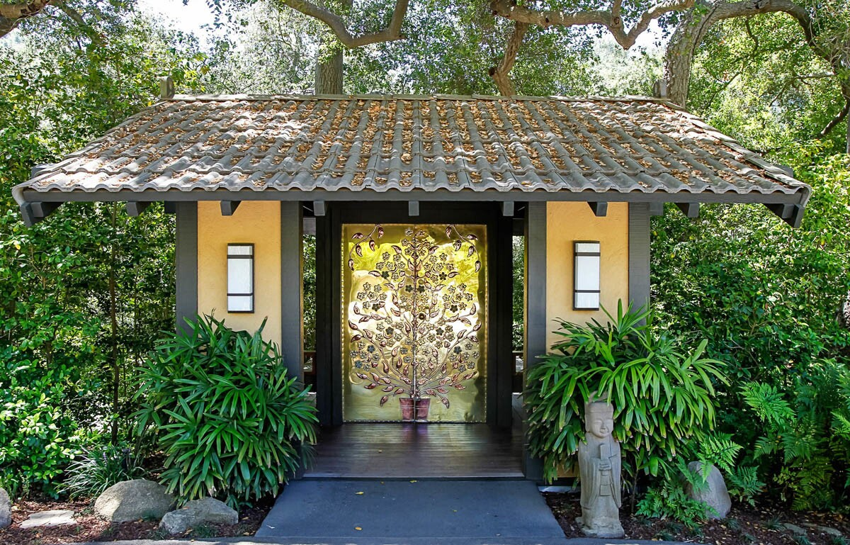 "SAN DIEGO, CA June 13th, 2017 | The ""golden doors"" at the entrance to the Golden Door Spa in San Marcos, California. 