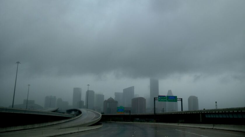 Rain clouds over downtown Houston on Aug. 27.