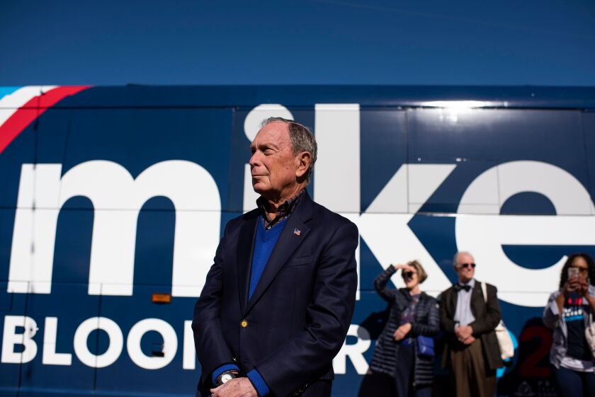Michael Bloomberg waits by his tour bus in Austin, Texas, this month.