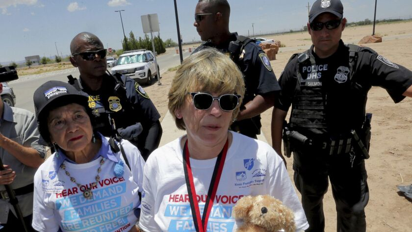 Randi Weingarten is turned away after trying to deliver a teddy bear and other items for children to
