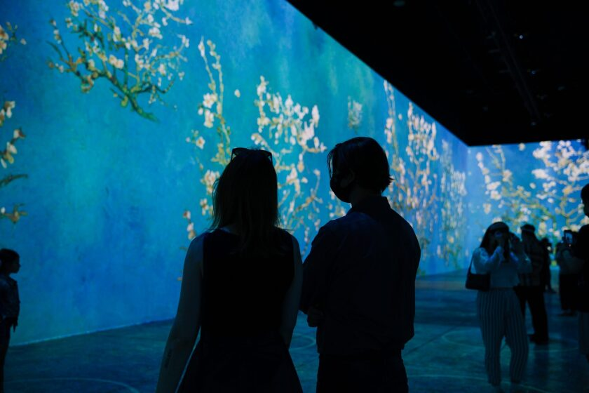Art-goers in Chicago look at projections of