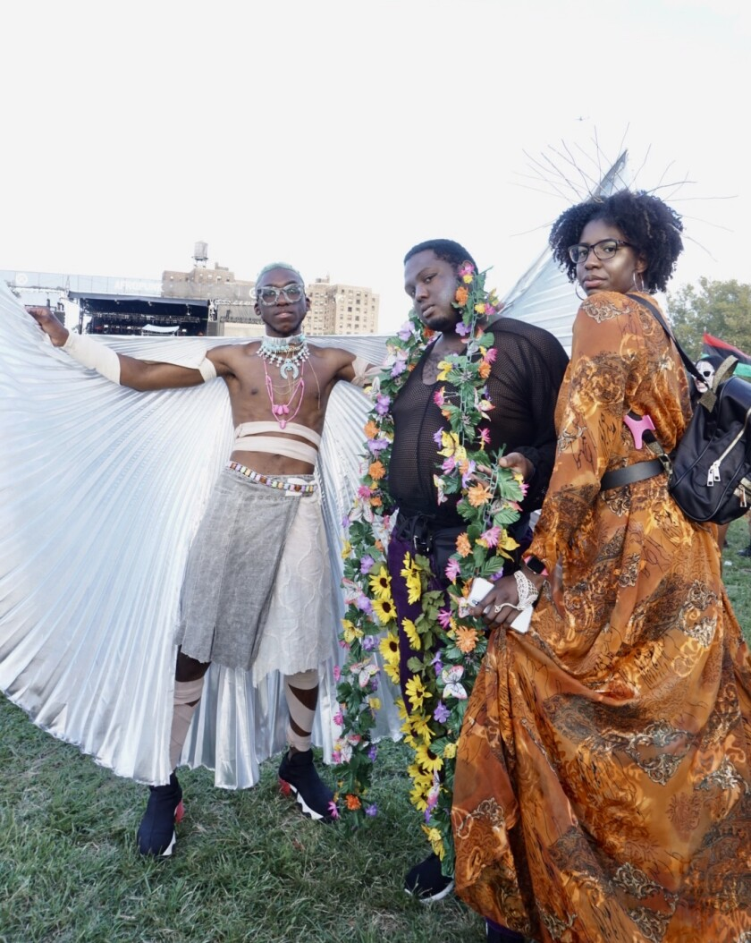 From left to right, friends Leshawn Bridgewater, Shy Base and Solange McKenzie at Afropunk in Brooklyn, N.Y.