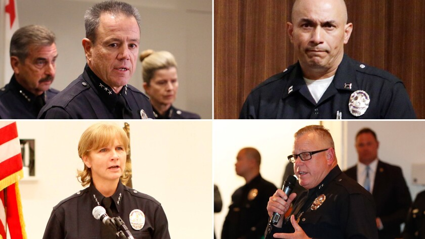 The list of candidates to be the new LAPD chief include: clockwise from top left, Assistant Chief Mi