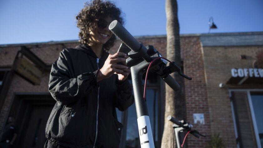 VENICE, CA -- TUESDAY, MAY 15, 2018-- Hila Aviran uses Bird, a motorized scooter company since thre