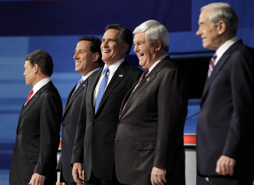 Rick Perry, Rick Santorum, Newt Gingrich, Ron Paul, Mitt Romney
