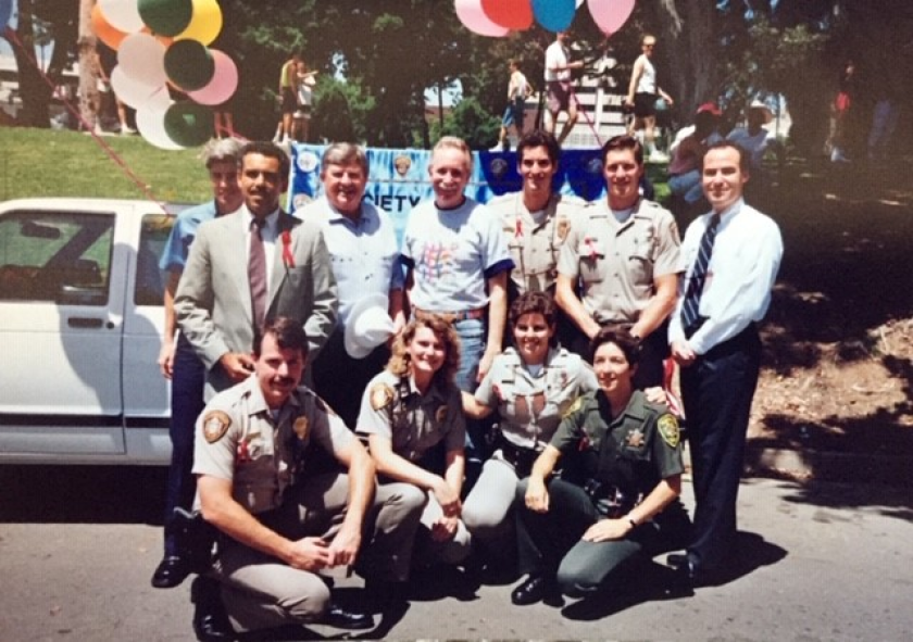 Officers in uniform at San Diego Pride in 1992 for the first time as participants.