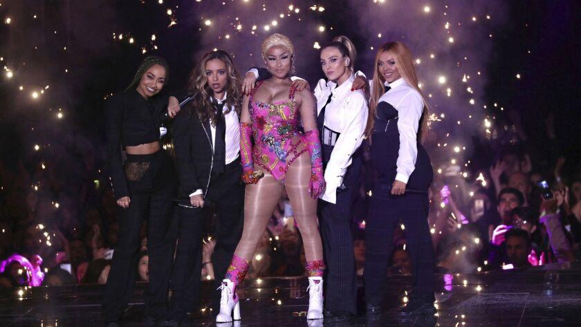 Nicki Minaj, center, performs during the MTV Europe Music Awards ceremony in Bilbao, Spain, on Nov. 4.