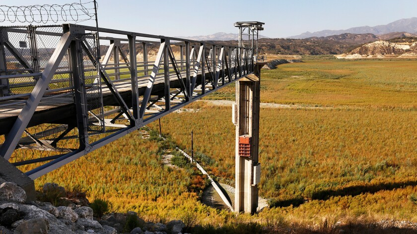 The water intake tower at Lake Cachuma which delivers water to Goleta, Santa Barbara and Montecito is high and dry. The reservoir normally covers 3,100 acres and is now at approximately 7.5% of cap