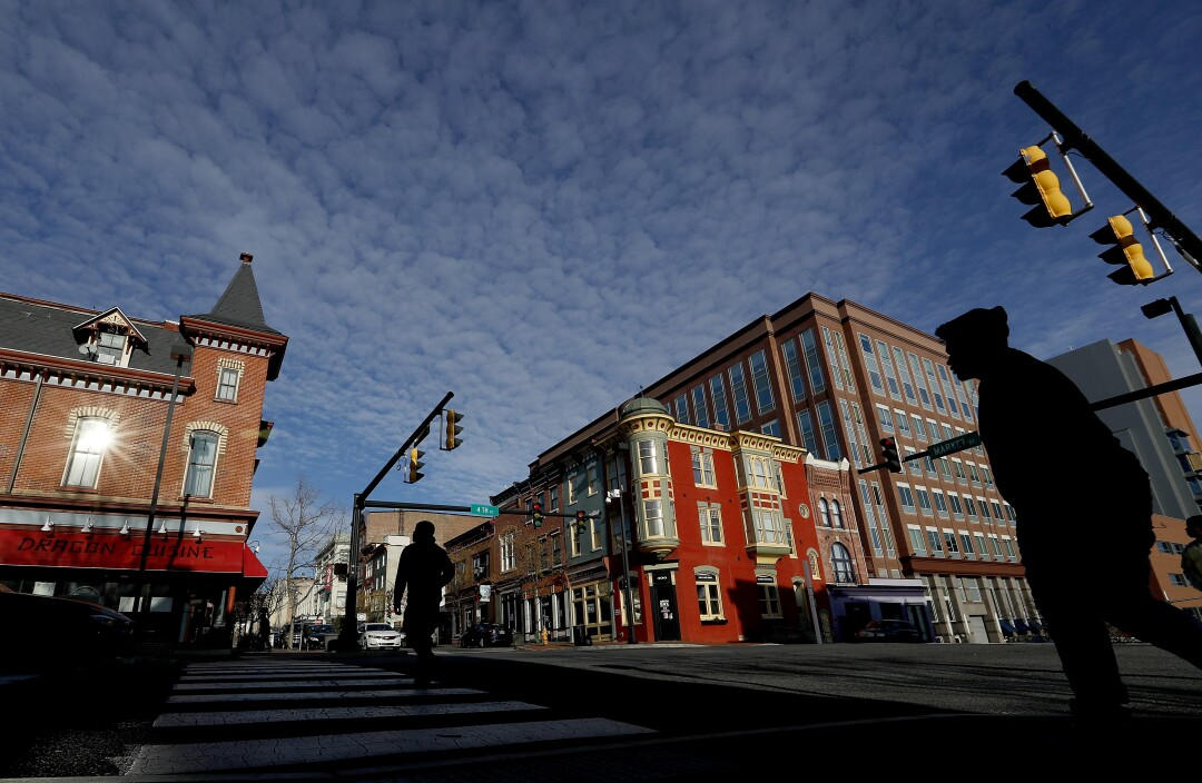 The intersection of 4th and Market streets in downtown Wilmington, Del.