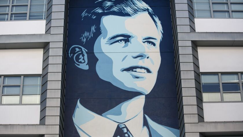 LOS ANGELES, CALIF. -- FRIDAY, MAY 27, 2016: Commissioned mural of Robert F. Kennedy by Shepard Fair